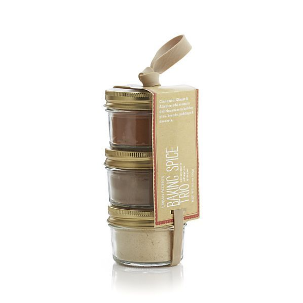 """baking spice trio"" - cinnamon, allspice, ginger, matched packages, tied with a ribbon."