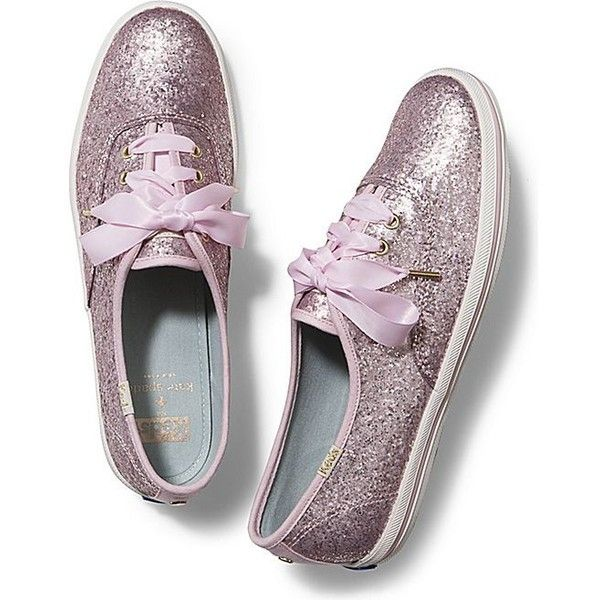 KEDS X kate spade new york CHAMPION GLITTER ($80) ❤ liked on Polyvore featuring shoes, sneakers, blush pink matte glitter, retro shoes, keds shoes, shiny shoes, glitter shoes and striped shoes