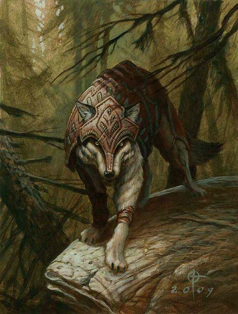 Zendikar Wolf Token by Daren Bader Magic the Gathering card art