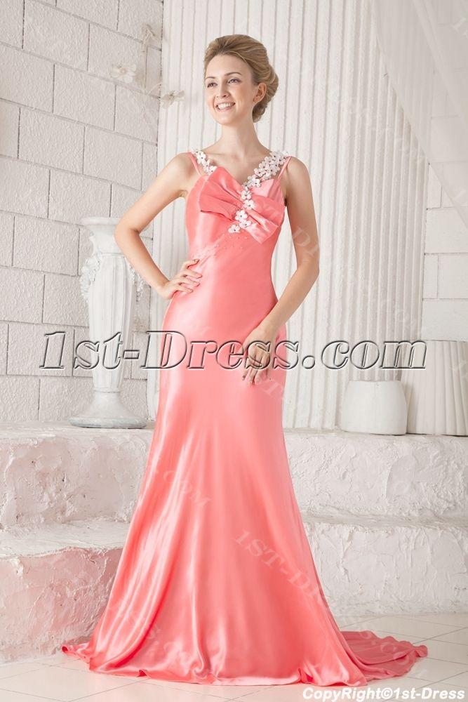 Sheath Coral Evening Dresses for Women:1st-dress.com