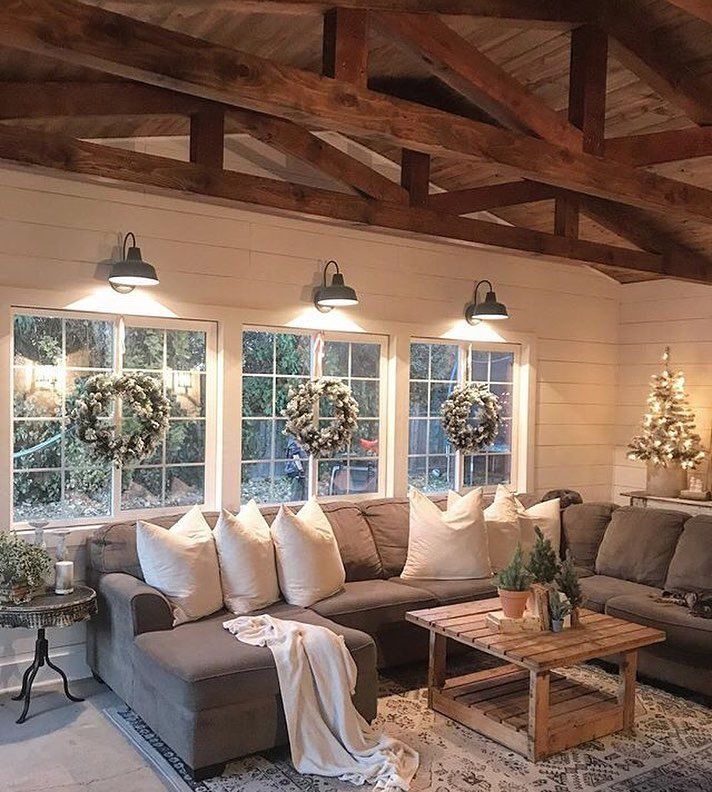 This I Want A Mountain Home That Isn T Golden Colored Logs This Is Beautiful Farm House Living Room Farmhouse Decor Living Room Rustic Farmhouse Living Room