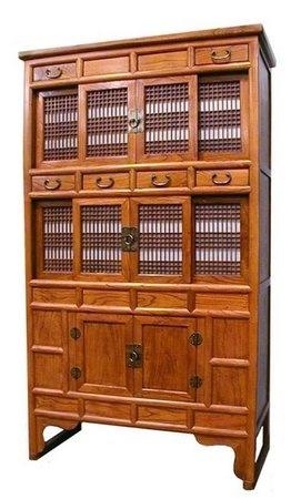Korean Kitchen Cabinet with sliding doors.