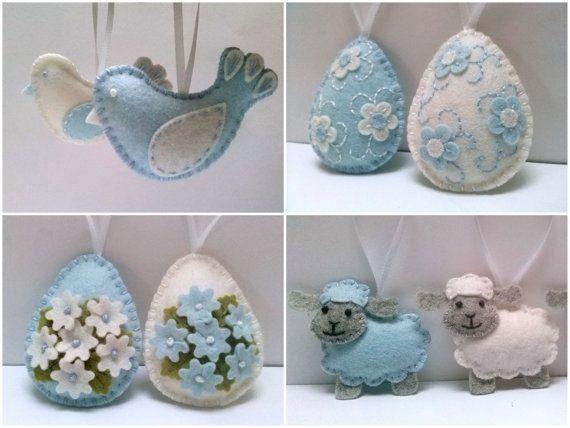 CONSEGNA dopo Pasqua Baby blue ornamenti, decorazione di Pasqua feltro, bianco e uova con i fiori, decorazioni di Pasqua blu - scelta di feltro blu