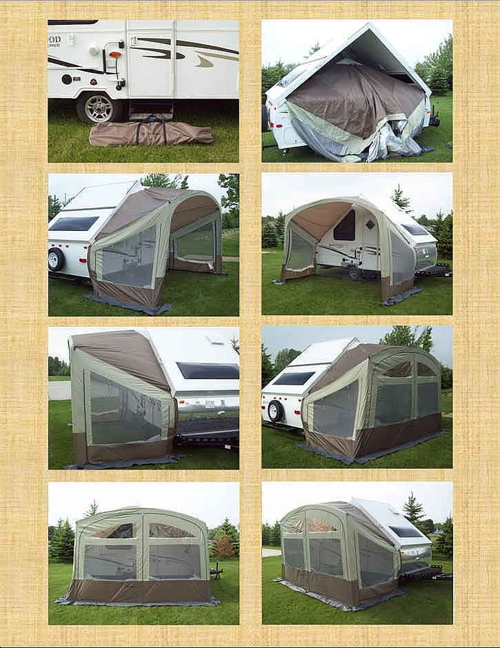 this is forest rivers combo screen roomawning for a frame hard sided camping trailer