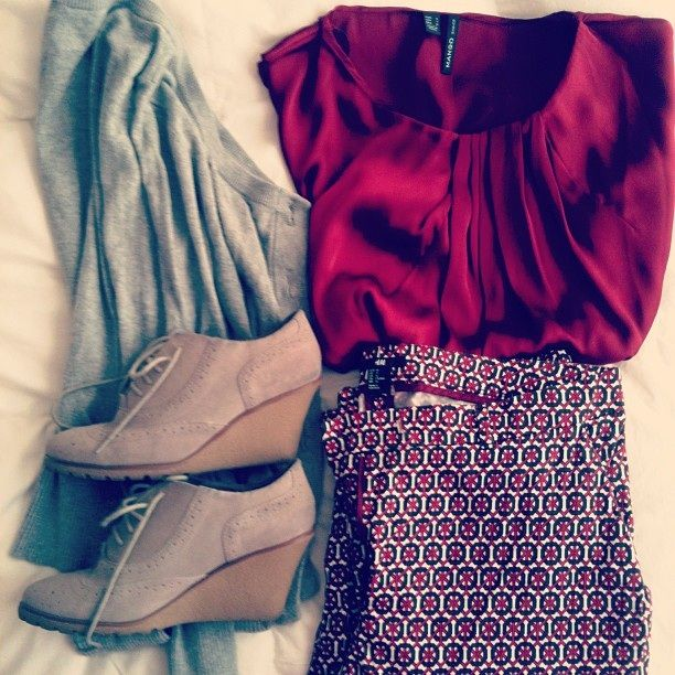 Mi outfit look burdeo y gris #Mango #Basement #Elle #HyM #outfit #look