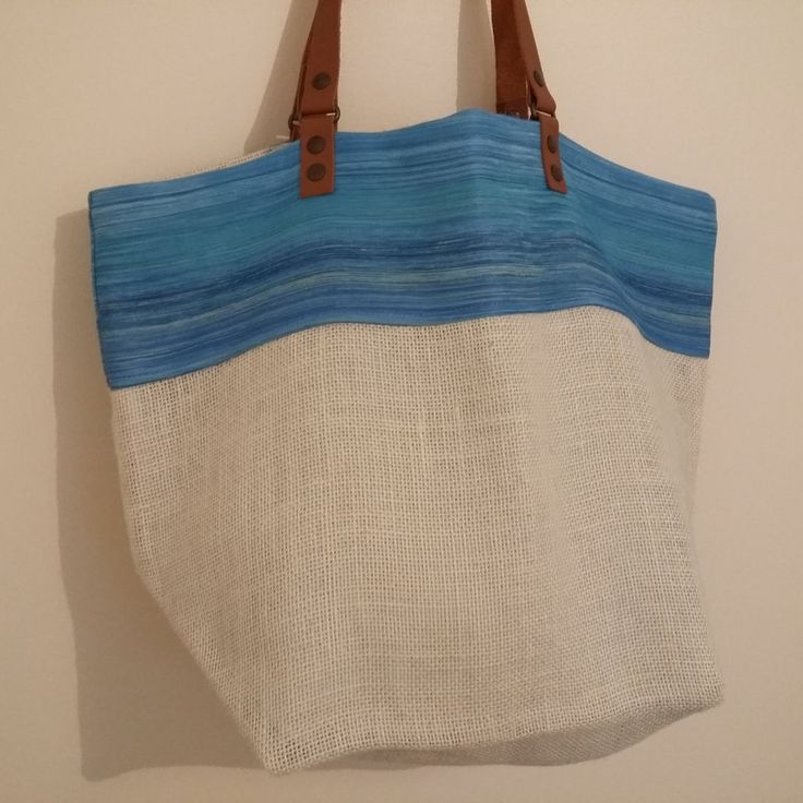 """Sac cabas """"Tataoya"""",sac réversible,sac fourre-tout,sac de plage,anses en cuir,sac toile de jute,tote bag,hobo,leather,sac d'été,sac à main de la boutique LeyaEtAdaneBoutique sur Etsy"""