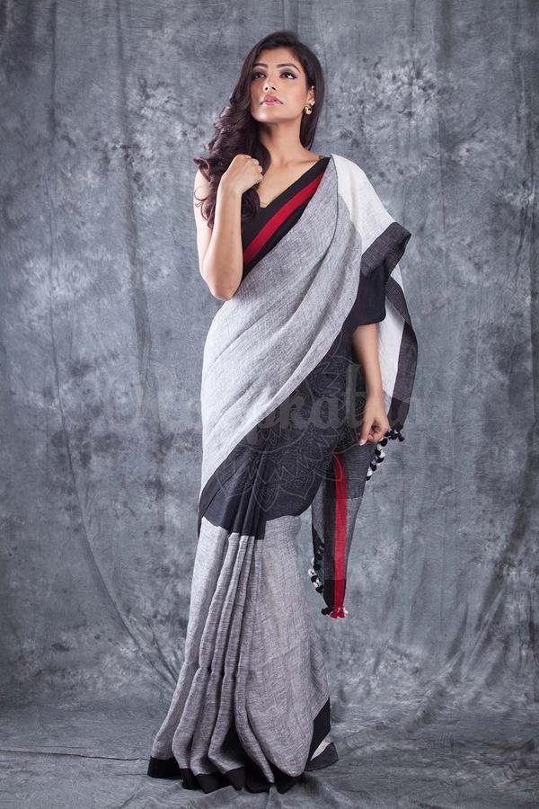 Handwoven Black Grey Organic Linen Saree
