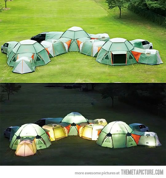 Awesome tents that zip together can form a camping fort. This might be the coolest thing that I've ever seen. I WANT