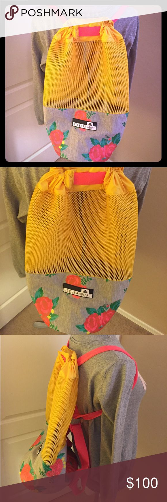 🆕 Adidas by Stella McCartney Backpack 🎒A Very Rare Find! Authentic Adidas by Stella McCartney Roses Printed Jersey & Mesh Backpack. Black & White Adidas Stellasport Logo Tab. Solid Yellow Drawstring Top. Bright Yellow Mesh Body. Floral Print Bottom has a Heather Grey Background with Appliqued Bright Red & Coral Roses, Green Leaves, & Yellow Daisies. Bright Orange/H Grey Adjustable Straps. Outer Shell: 60% Cotton/40% Polyester. Inner Lining: 100% Polyurethane. Excellent Condition. No…