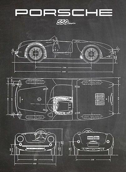 PORSCHE 550 SPYDER DIAGRAM VINTAGE RACECAR - BLACKBOARD 911 356