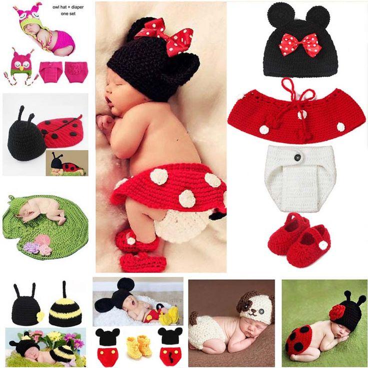 Heißer Verkauf Cartoon Fotografie Requisiten Neugeborenes Baby Gestrickte Kostüm Outfit Mickey Eule Bee Marienkäfer Baby Dusche Geschenk SG058