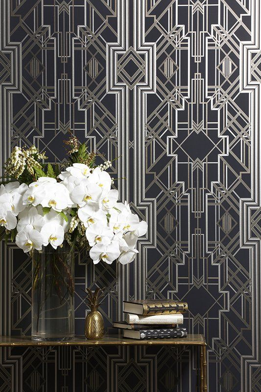 This wallpaper has a Great Gatsby, Art Deco theme. Whilst this wallpaper is inspired by the past, the metallic tones suit a modern home. This wallpaper is trending right now!