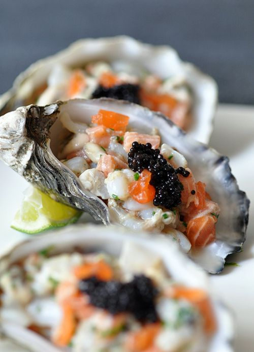 Oyster &  Scallop Tartare w/ Ginger Dressing