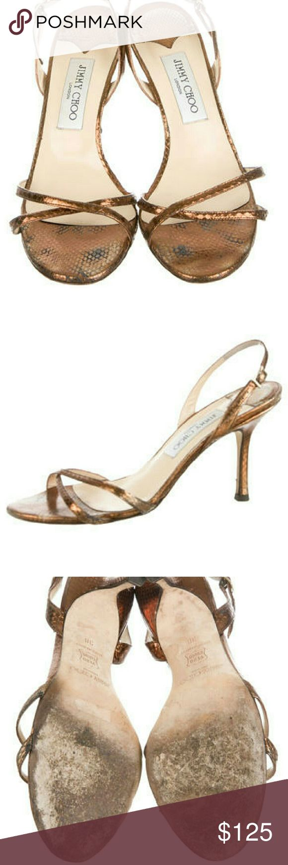 Jimmy Choo Metallic leather Heels sz 8 Gorgeous pair of strappy leather sling back high heels from Jimmy Choo. A bronze-gold metallic sheen, in great condition.  The heel hight is about 3.5 inches. Very good condition with some scuffing on the soles. Jimmy Choo Shoes Heels