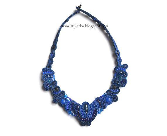 Blue necklace with jades Soutache by StylazkaSoutache on Etsy