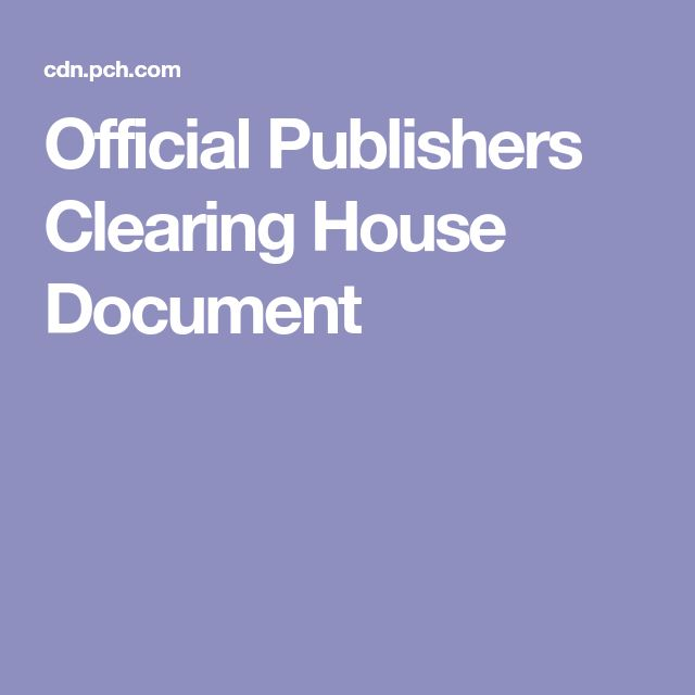 Official Publishers Clearing House Document