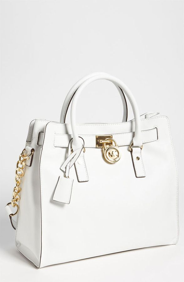 €316, Cartable en cuir blanc MICHAEL Michael Kors. De Nordstrom. Cliquez ici pour plus d'informations: https://lookastic.com/women/shop_items/7203/redirect