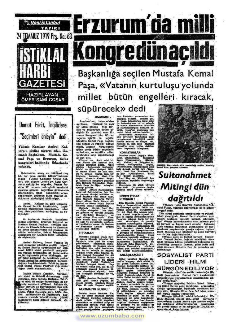 istiklal harbi gazetesi 24 temmuz 1919