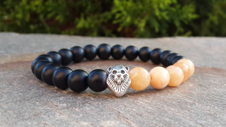 Mens Stretch Lion Bracelet, Black Onyx, Orange Agate, Mens Spiritual Mala, Yoga Beads, Strenght, Grounding, Energy, Calming, Gift for Him
