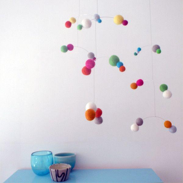 Customised hanging art mobile - felt ball - custom colours
