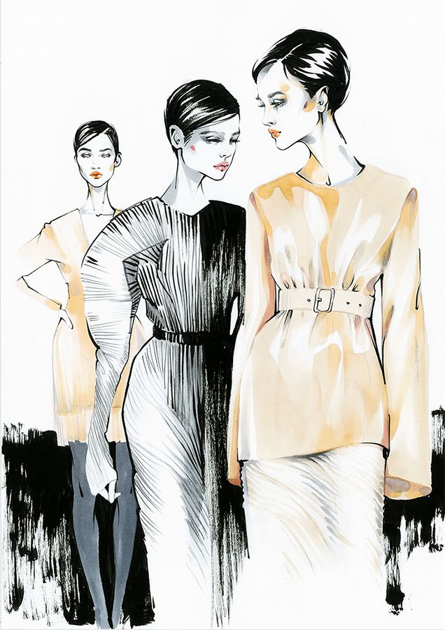 Jil Sander Spring 2017 Ready-to-Wear  Milan Fashion week /Backstage  Fashion illustration by Alina Grinpauka