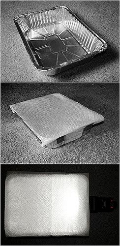 Here is my project for the night, a $5 DIY softbox made from a lasagna pan.