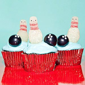 Easy bowling cupcake toppers made from gumdrops and black gumballs.
