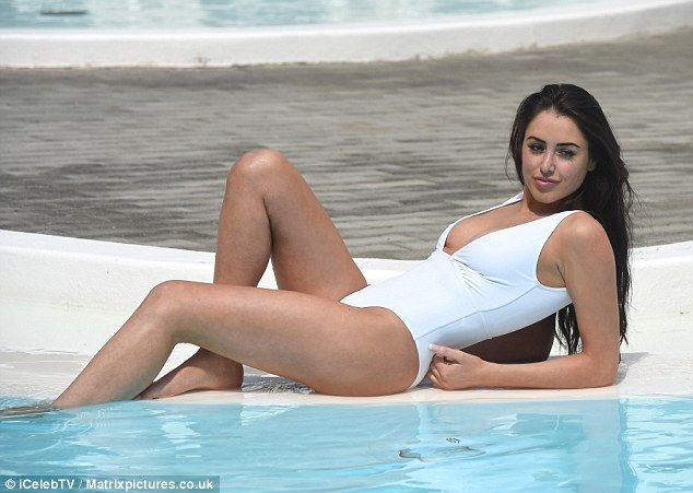 Poolside posing: Marnie Simpson looks set to raise some temperatures as she looks better t...