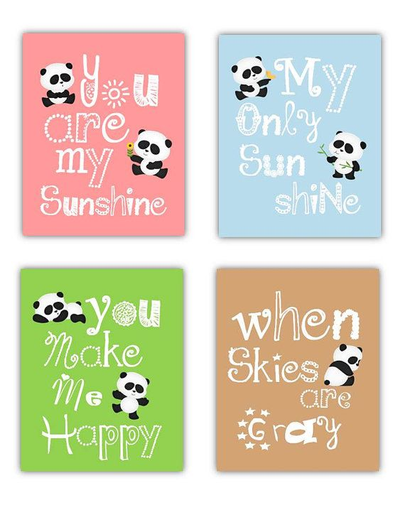 Art for kids // Panda Nursery Decor // Panda Wall Art // You Are My Sunshine Wall Art // Baby Shower Gift // Cute Nursery Decor // 4-8X10