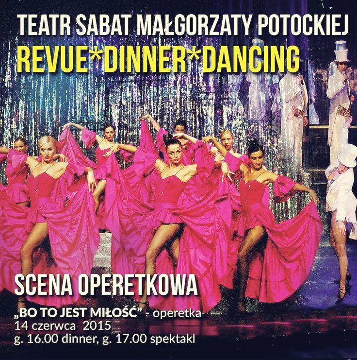 Teatr Sabat, to jedyny teatr w Polsce, gdzie tradycyjną salę z krzesłami w rzędach zastąpiły eleganckie stoliki. Stąd w programie: 'Welcome Drink', serwowana kolacja, spektakl rewiowy– zabawa na scenie  z udziałem artystów Teatru Sabat do białego rana. Pyszna kolacja, w przerwie spektaklu lody, a po spektaklu rozmowy  z solistami i zabawa na scenie. ZAPRASZAMY