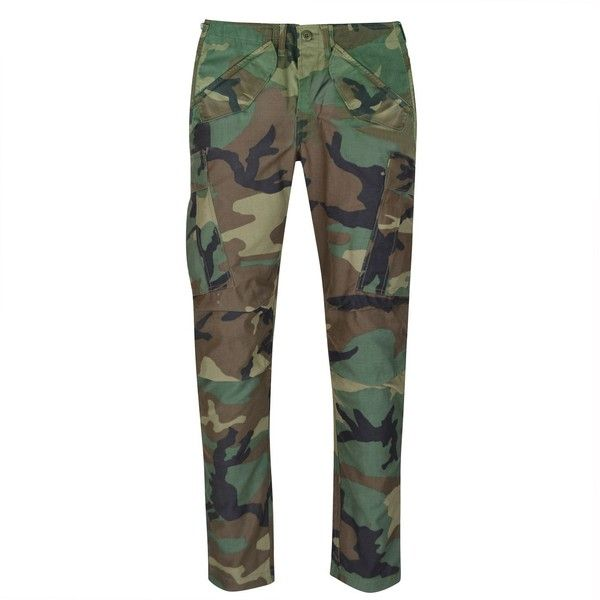 MAHARISHI Upcycled Ma Custom Cargo Pants ($130) ❤ liked on Polyvore featuring pants, woodland, camoflage cargo pants, army cargo pants, camo pants, camoflauge pants and army camo pants