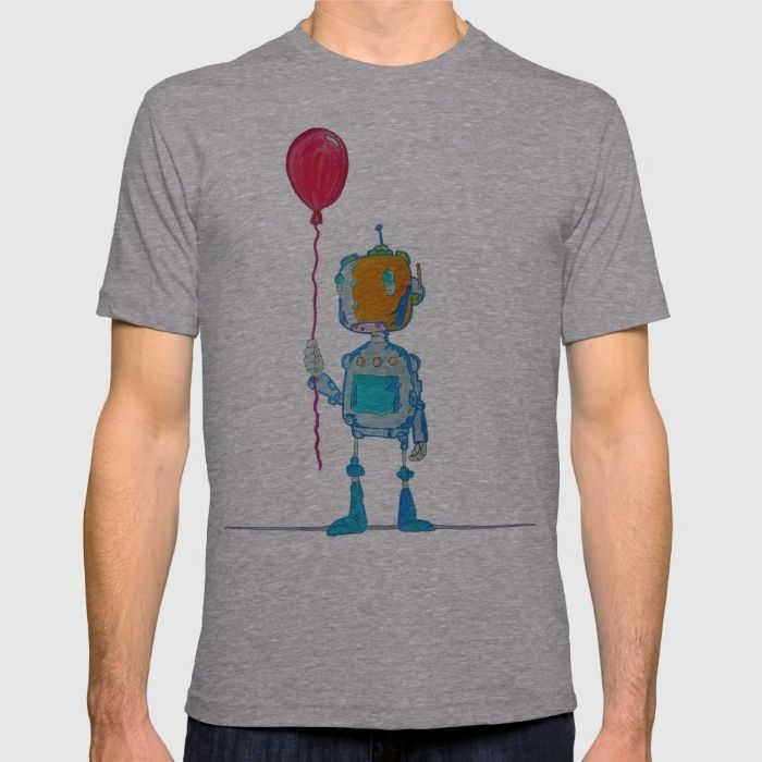 Robotic T-shirt by BNK Design on society6. Cute robot with balloon.