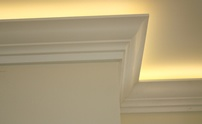 Example of cove lighting above crown molding
