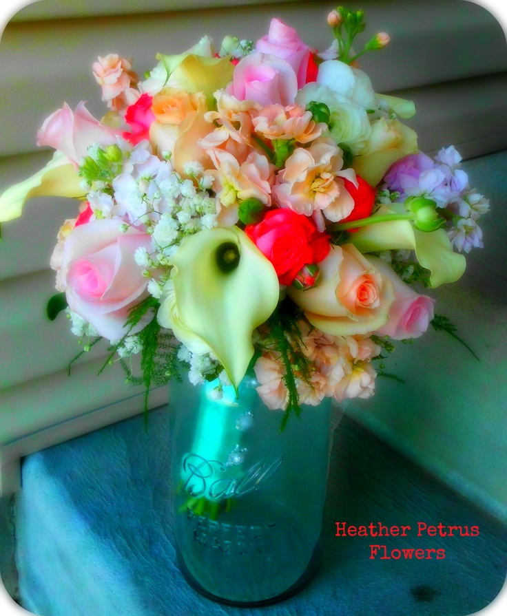 Peach, Pink, Cream, and Tiffany Blue Wedding Bouquet  By: Heather Petrus