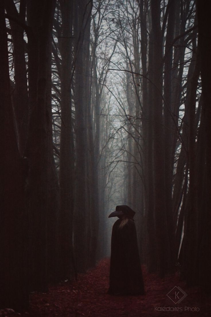 Plague doctor in a mystical fog of the darkest soul corners