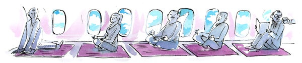 Striking a Pose Above the Clouds: when seats are too narrow & flights too long, yoga provides relief for stiff limbs (via NYT)