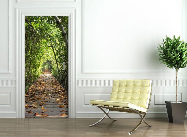 Door Wallpaper self adhesive - FOREST ROAD: Amazon.co.uk: Kitchen & Home