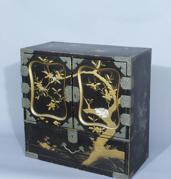 Antique Japanese Table Cabinet, Lacquered Cabinet, Antique ...