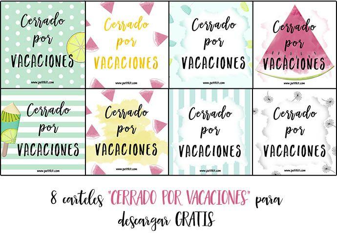 """Carteles """"Cerrado por vacaciones"""" - free"""