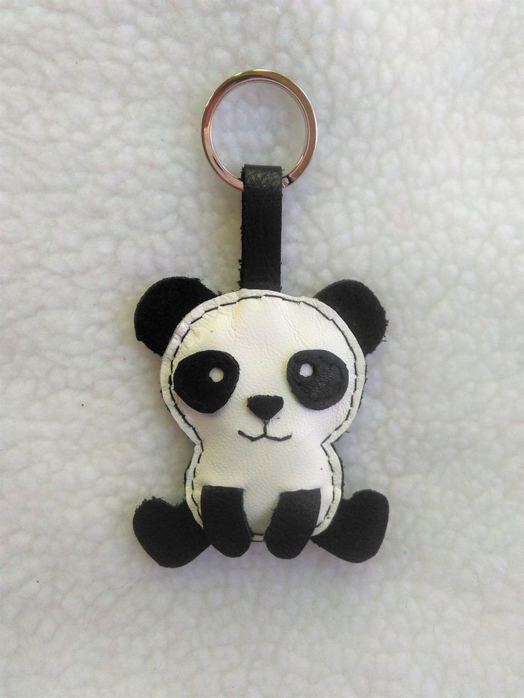 Llaver de Cuero Oso Panda, Llavero Oso Panda, Llavero Animal Original de JYNzapateros en Etsy