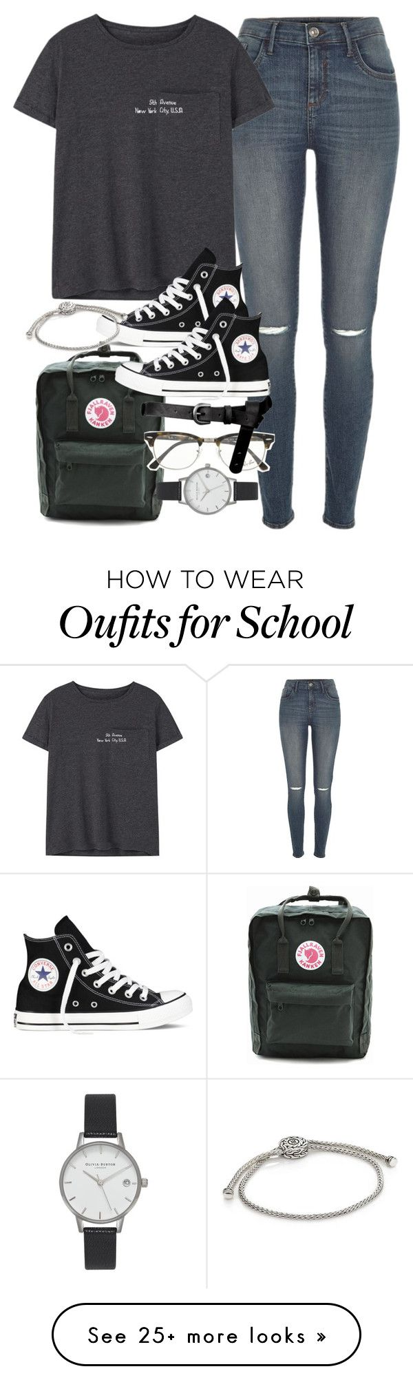 Outfit for school by ferned on Polyvore featuring River Island, MANGO, Fjällräven, Converse, John Hardy, Ray-Ban, ASOS and Olivia Burton
