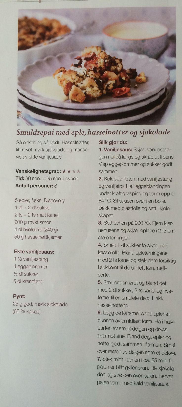 Kjempegod smuldrepai med verdens beste vaniljesaus. Fra Tara Smak 8/2013