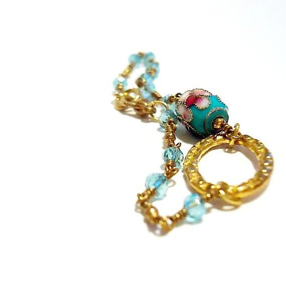 Teal Bracelet Cloisonne Bracelet Chinese Jewelry Crystal by cdjali, $16.00