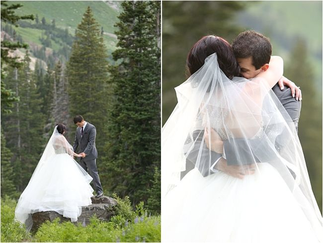 Albion Basin Bridal Photography, traditional ball gown bride in the Utah mountains