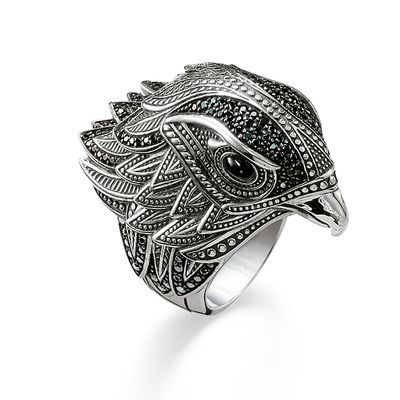 Rock 'n Roll! THOMAS SABO Ring from the Sterling Silver Collection. As a messenger of light, this elegant falcon ring makes a real impact with its radiant eyes made from onyx and a dazzling cloak of feathers and is guaranteed to lend an expressive flair to any look.