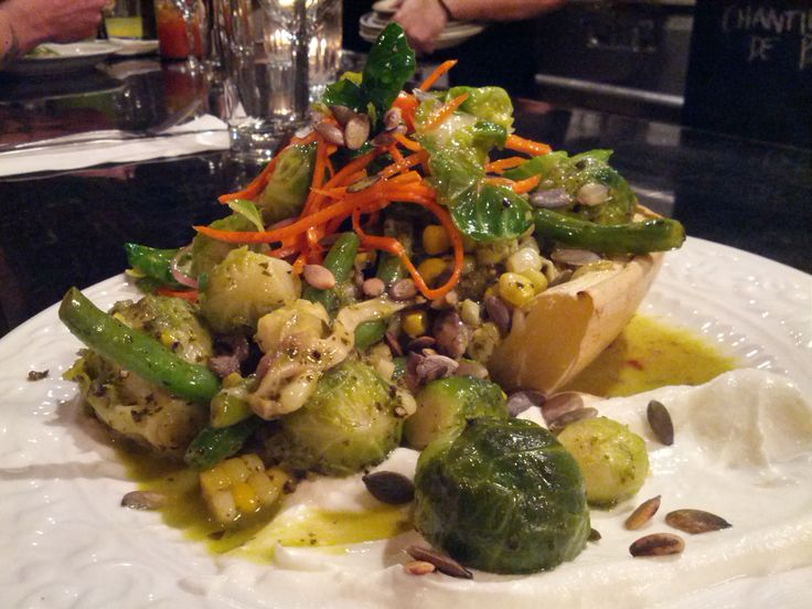 Restaurant Manitoba, Montreal, Spaghetti Squash with Brussel Sprouts, Corn, 'Lobster' Mushrooms, Pumpkin Seeds and Labneh