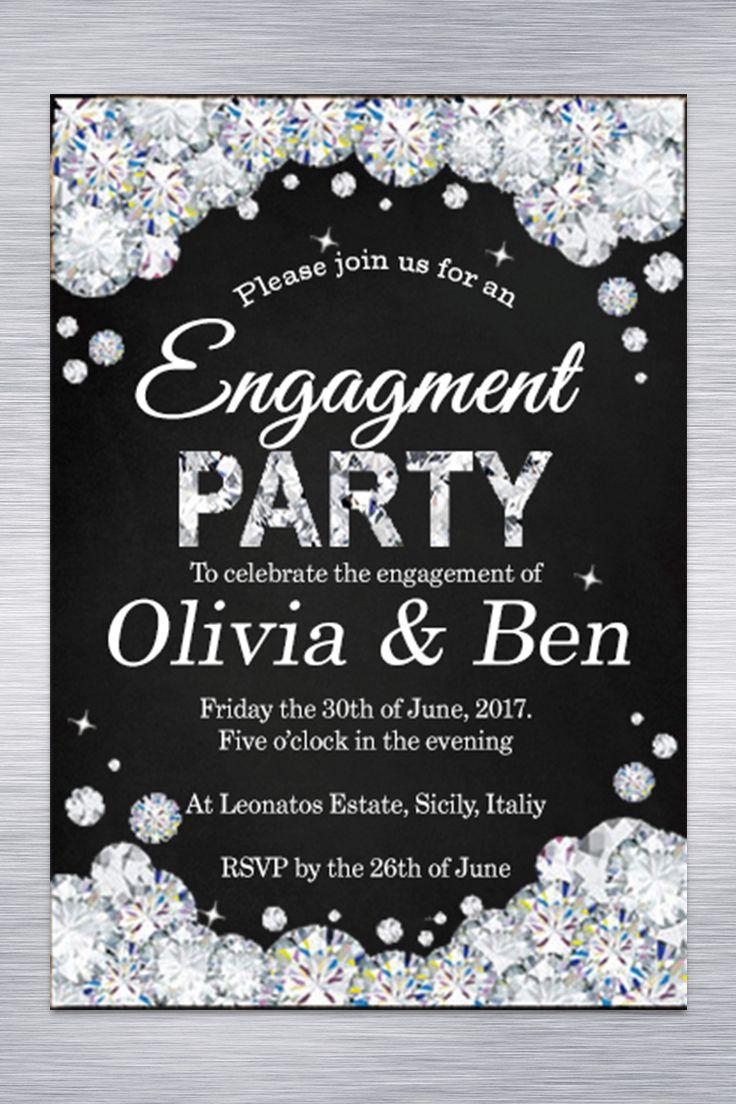 Engagement invitation. Engagement Party invitation Glitter Silver Chalkboard Black white. Diamond DIY Facebook Event Image