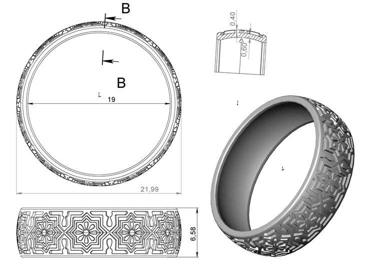 gold ring enamel -13 3d model