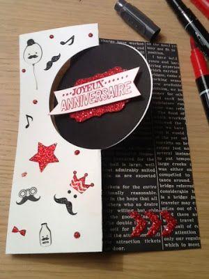 """Ancolies favorite Scrap: Joyeux anniversaire Aurélien : carte homme """" moustaches"""" !"""