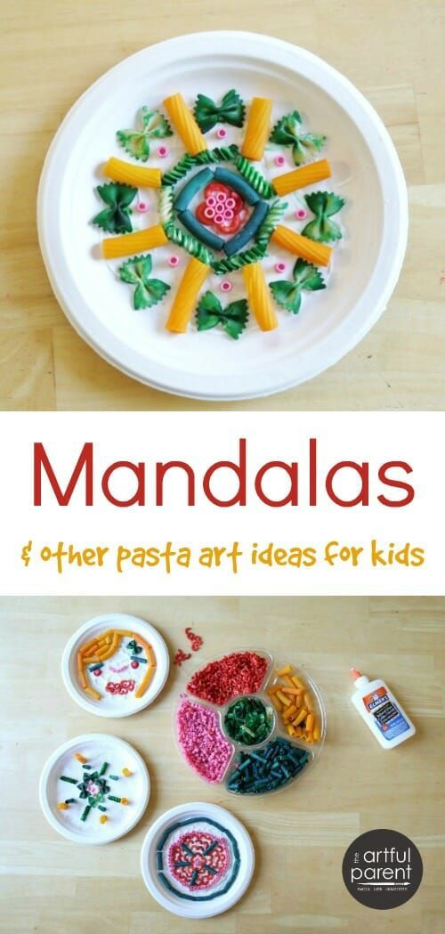 Fun pasta art activities for kids (sculptures, clay, mandalas) plus instructions for coloring your own pasta shapes to use in kids crafts. #kidscraft #kidsactivities #mandala